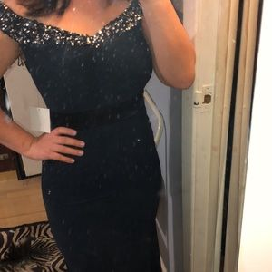 ASOS off shoulder navy fishtail gown with sequins